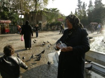 Pigeon lady outside the tomb