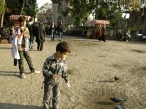 Feeding the pigeons outside Ayyub Sultan's tomb